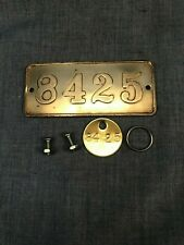 8425 ID Brass Tag Gamewell Fire Alarm Firefighter Used Refinished