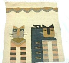 Vintage Wool Blanket Guatemala Cat Handmade Fringe Ivory Black Tan Brown
