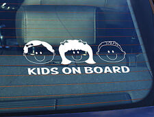 Static Cling Window Car Sign/Decal Kids on Board 2 Girls, Spiky Boy 100 x 250mm