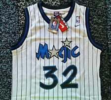 NWT Shaquille Shaq O'neal Orlando Magic White Throwback Jersey NIKE L SEWN