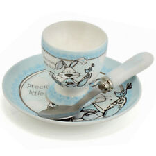 BABY BOY EGG CUP SPOON SAUCER CHRISTENING DAY GIFT SET PRESENT BOXED NEW BORN