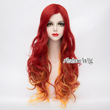 75CM Long Red Mixed Yellow Curly Hair Women Fashion Cosplay Party Lolita Wig