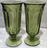 2 Heisey COLONIAL OLIVE GREEN Footed Iced Tea Tumblers 1907-1956 holds 12oz.