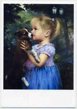 ART Kids Child Children Little Girl and Nice Puppy Garden New Modern Postcard #4