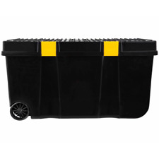 100L Tough Cart Recycled Black with Yellow Clips -Heavy Duty - DIY - With Wheels