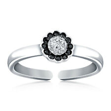 0.31 Ct Diamond Toe Adjustable Ring 925 Silver 10K White Gold Plated Ladies