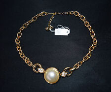 NOS NWT Vtg PARK LANE Chain Necklace Pearl Rhinestone Pendant Costume Jewelry