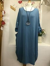 MADE IN ITALY LAGENLOOK  2 POCKETS LONG SLEEVES BLUE JERSEY DRESS SIZE 16-18-20