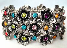 Multi Colour Crystal Details Stretchable Chunky Cuff Bracelet Hen Party Prom