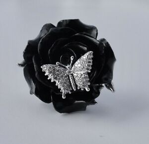 Natalie Baroni Carved Black Coral Rose Ring With 18K Gold Diamond Butterfly