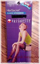 """2 Pr Vassarette """"Her Secret"""" Classic Black Stockings Size Medium, 5'-1"""" - 5'-10"""""""