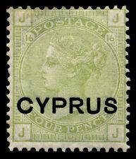 Cyprus 1880. 4p Olive Green  SC# 4. SG# 4, Plate 16, OG Hinge Mark