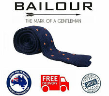 Bailour Tie Men's Luxury Navy Blue dot Formal Knitted Skinny Slim