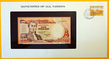 Colombia - 1983 - 100 Pesos Uncirculated Banknote enclosed in stamped envelope.