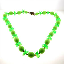 Vintage Bright Green Plastic Bead Necklace Long Strand 25""