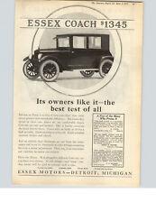 1922 Paper Ad Car Auto Automobile Essex Motors Coach Closed Car Detroit MI