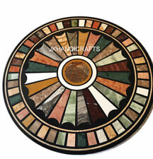 """24"""" Marble Round Multi Color Dining Table Top Mosaic Floral Inlay Home Decor"""