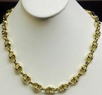 """14k Yellow Gold Men/'s Puffed Anchor Mariner 24/"""" chain//necklace 11 MM 30 grams"""