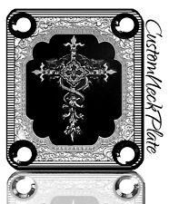 BLACK Engraved Cross Guitar Neck Plate fits Fender tele/strat/squier PBass