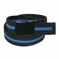 New CTM Men's Big & Tall Fabric Adjustable Belt with Blue Center Line
