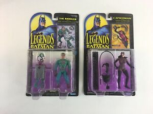 Lot of 2 Legends of Batman Catwoman The Riddler Action Figures Kenner 1994 NIB