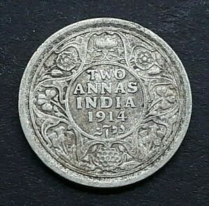 1914 India George V - 2  Two Annas .917 Silver Coin - Nice Grade