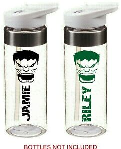 THE HULK personalised bottle name stickers for school for drinks water bottle