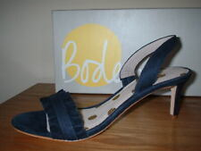 NAVY LEATHER SUEDE PEEP TOE SLING BACK STILETTO HEEL SANDAL 8.5/42 TOP QUALITY
