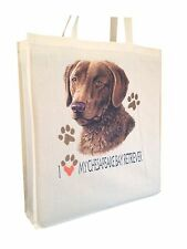 Chesapeake Bay Retriever Cotton Shopping Tote Bag Gusset & Long Handles
