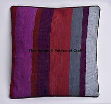 Cotton Indian Square Stripe Sofa Cushion Cover Ottoman Pillow Case Home Decor