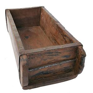 Ziegelform Massivholz Kasten Vintage Rustikal Kästchen Eisenbeschlag Holzbox