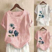 Women Plus Size Linen Blend Floral Print O-Neck Short Sleeve Top Blouse Pullover