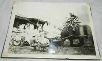 Vintage Photograph of Circus Elephant pulling winged deer float