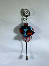 "Kevin Irwin Handmade Glass Bead Sterling Silver Brooch Hatpin 5.5"" long"