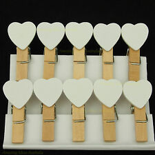 10 x Mini Love Heart Pegs - White | Wood / Wooden Clip Gift Wrapping Wedding Tag