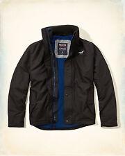 HOLLISTER Men's BLACK All Weather Jacket Coat XL Fleece Lined MSRP $89.95