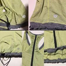 Lululemon Size 6 Run Tank Singlet Light  Lime Green stripes Gray Woman Yoga