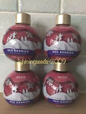 Avon RED BERRIES Bath & Body Wash 250ml x4 Festive Bauble-Shaped BRAND NEW
