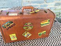 "Vintage Samsonite Luggage Suitcase w Original Travel Stickers 13"" Tall x 21"""