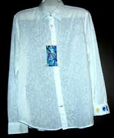 Ganesh Men's White  Cotton Soft Embroidery Design Shirt Size VL