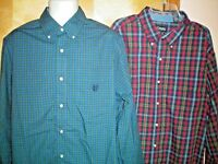 NWT NEW mens red green blue yellow plaid CHAPS l/s easy care casual shirt $60