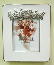 Rectangle miniature photo frame white enamel and silver tone rose and diamante