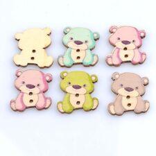 """10 TEDDY BEAR 2-hole Wood Buttons 1"""" x 7/8"""" (26 x 23mm) Scrapbook Craft (1122)"""