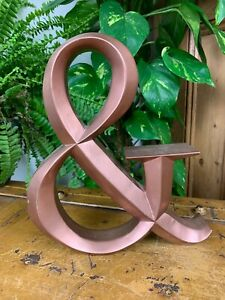 """VINTAGE STYLE FREE STANDING 9.75"""" COPPER METAL EFFECT INITIAL LETTER & AND SIGN"""