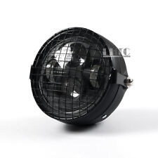 """Black 6.5"""" Motorcycle LED Projector Side Mount Square Mesh Grill Mask Headlight"""