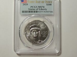2020 $100 Platinum Eagle PCGS MS70 First Day of Issue FDOI 1oz .9995