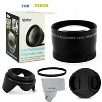 2X HD 4K 8K TELEPHOTO ZOOM LENS +UV FILTER + HOOD + CAP FOR NIKON D3400 D5600