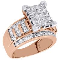 14K Rose Gold Princess & Baguette Cut Diamond Rectangle Engagement Ring 2 Ct.
