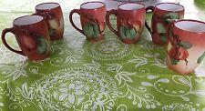 T & V Limoges France Antique 6 Porcelain Cups Mugs Hand painted Signed