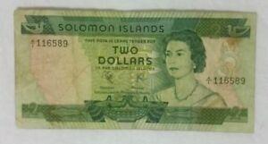 1977 SOLOMON ISLANDS $2 DOLLAR BANKNOTE p5a / FAIR CONDITION / A/1 First Prefix